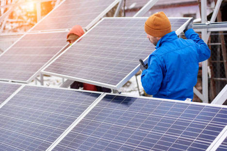 Removing and Reinstalling Solar Panels Workers