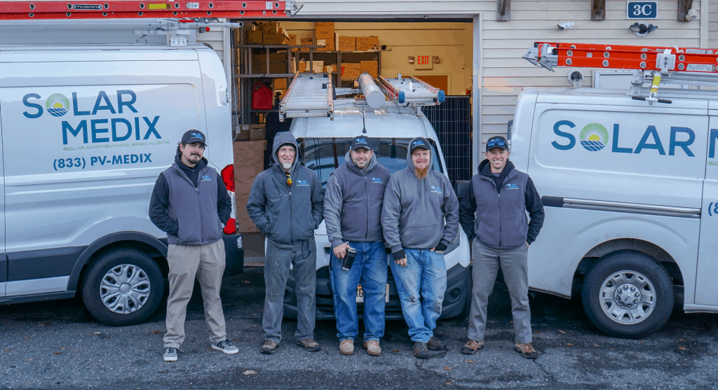 Solar Maintenance Staff standing in front of van for about us page