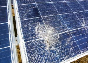 broken solar panel with cracks that needs a solar panel repair