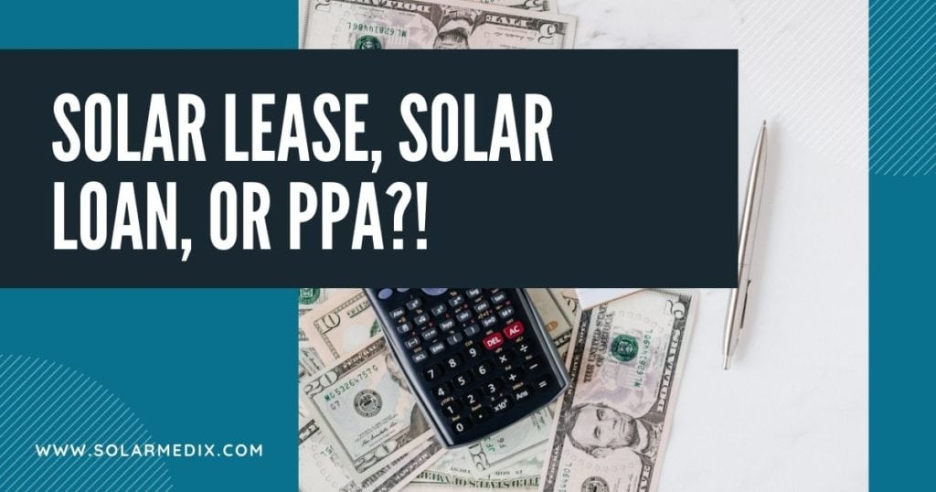 Photo of calculator for differences of solar lease, solar loan, or ppa
